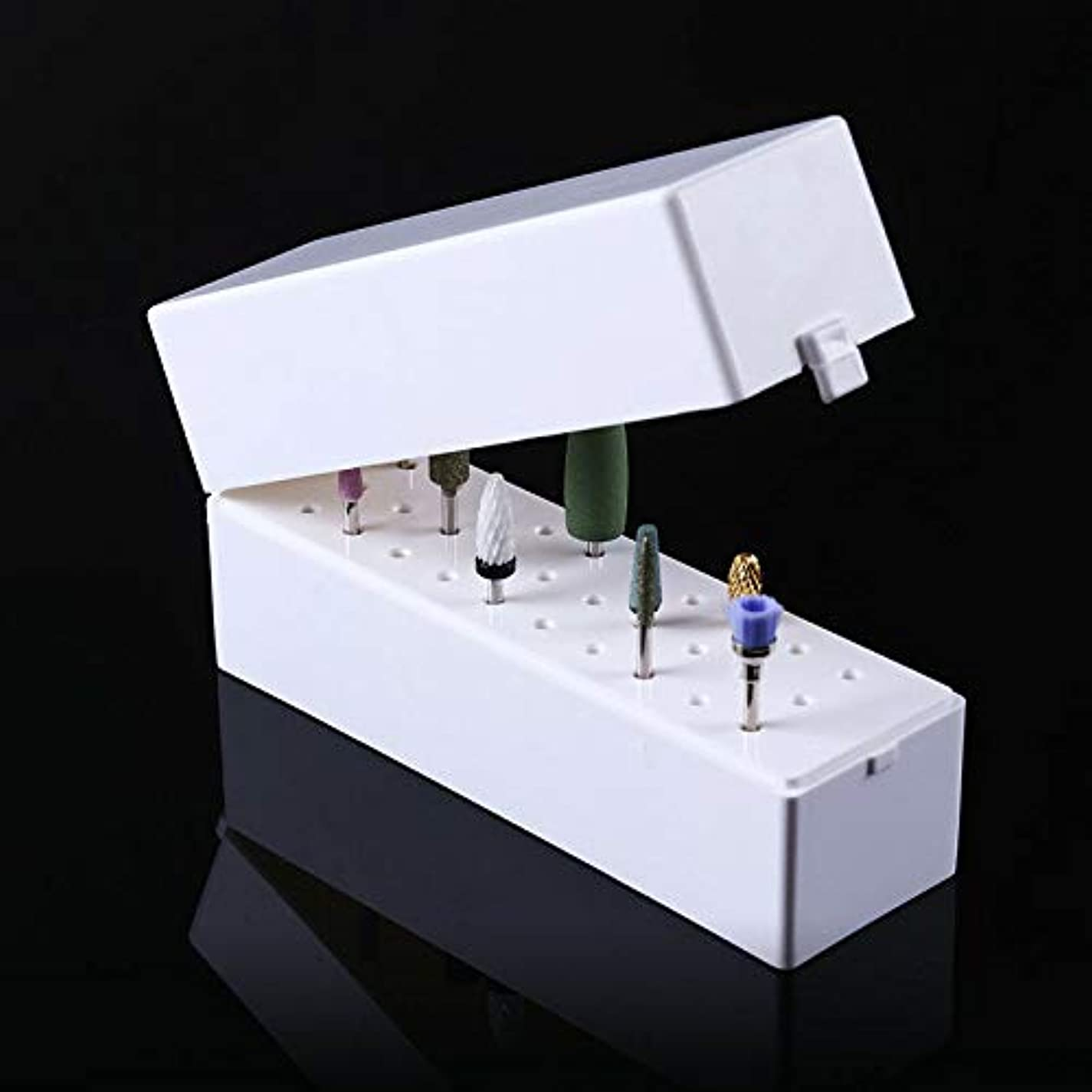 チャーミング成分考古学的なFidgetGear 30穴ネイルドリルビットホルダーボックスディスプレイ収納容器スタンドマニキュアツール