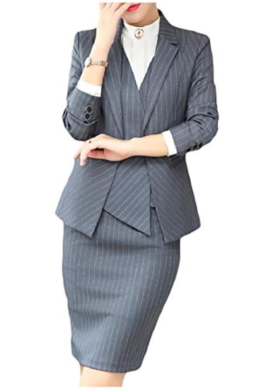 cheelot 女性オフィスビジネスストライプブレザーとボディースーツスカートスーツセット