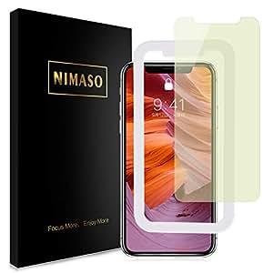 【ブルーライトカット】Nimaso iPhoneXS Max 用 液晶保護ガラスフィルム【ガイド枠付き】日本製素材旭硝子製/3DTouch対応/硬度9H/高透過率 (iPhone XS Max)