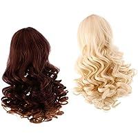 ノーブランド品 2個入り お買い得  ウィッグ  巻き 髪  カーリーヘア  ロング髪  かつら  18インチ アメリカガール人形適用  6色選べる  - カラー3