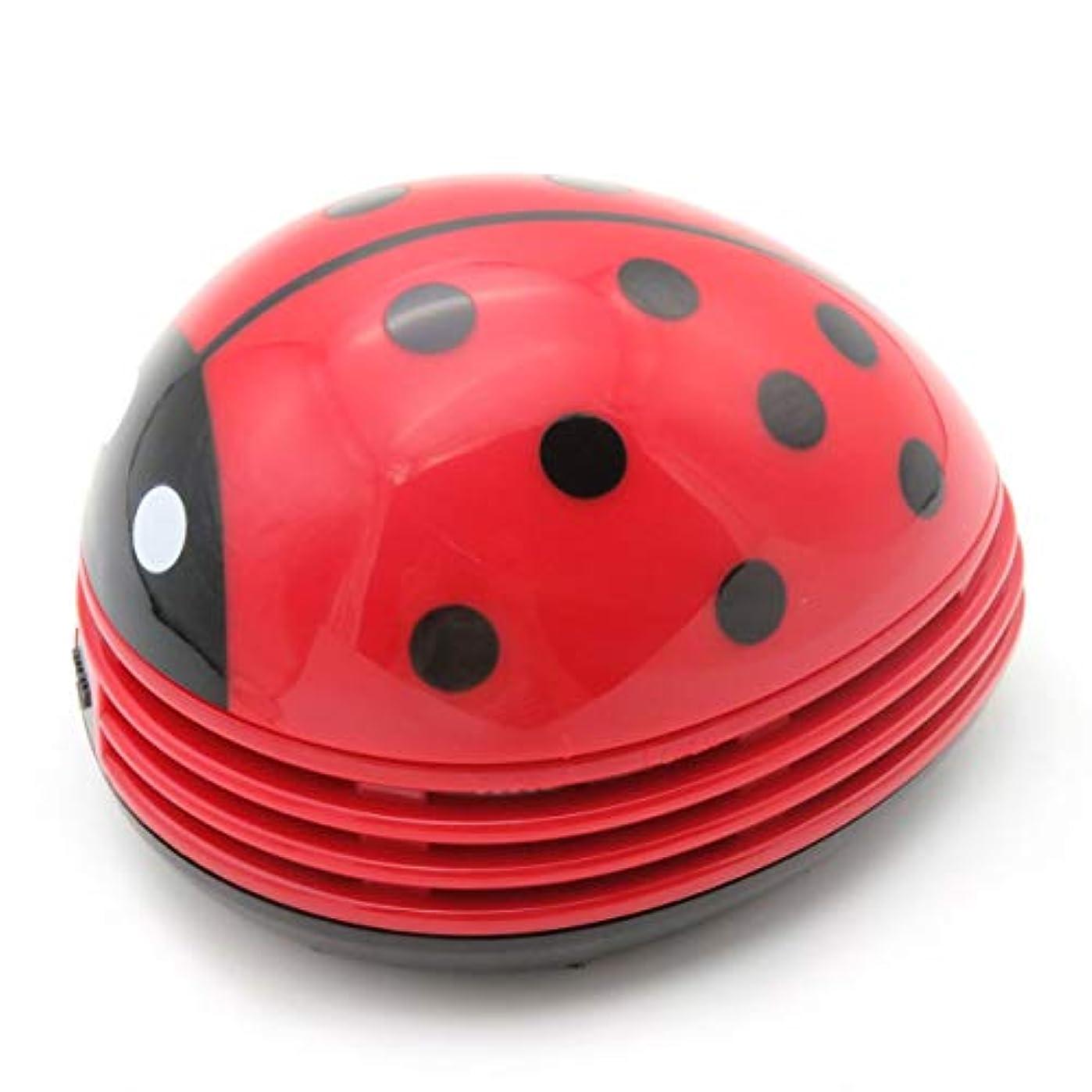 化粧うん貯水池Saikogoods ホームオフィス用バッテリ駆動 ラブリー漫画の形 デスクトップキーボードの掃除機 ミニ集塵機 クラムスイーパー 赤
