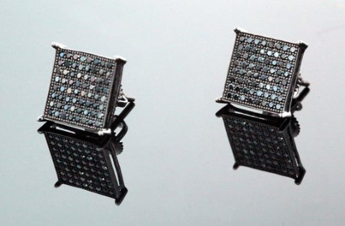 人類学部長休日に。925スターリングシルバーブラック正方形ブラッククリスタルMicro Paveユニセックスメンズスタッドイヤリング10 mm