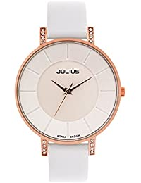 [ユリウス]JULIUS JA-766D レディース 腕時計 日本製クオーツ 超薄型 ホワイト 文字盤 革バンド 女性 ウォッチ