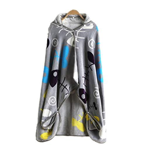 PANCY ひざかけ ブランケット レディース 着る毛布 大判 100×150cm 毛布 フード付き 防寒 対策 裏ボア かわいい (魚柄 グレー)