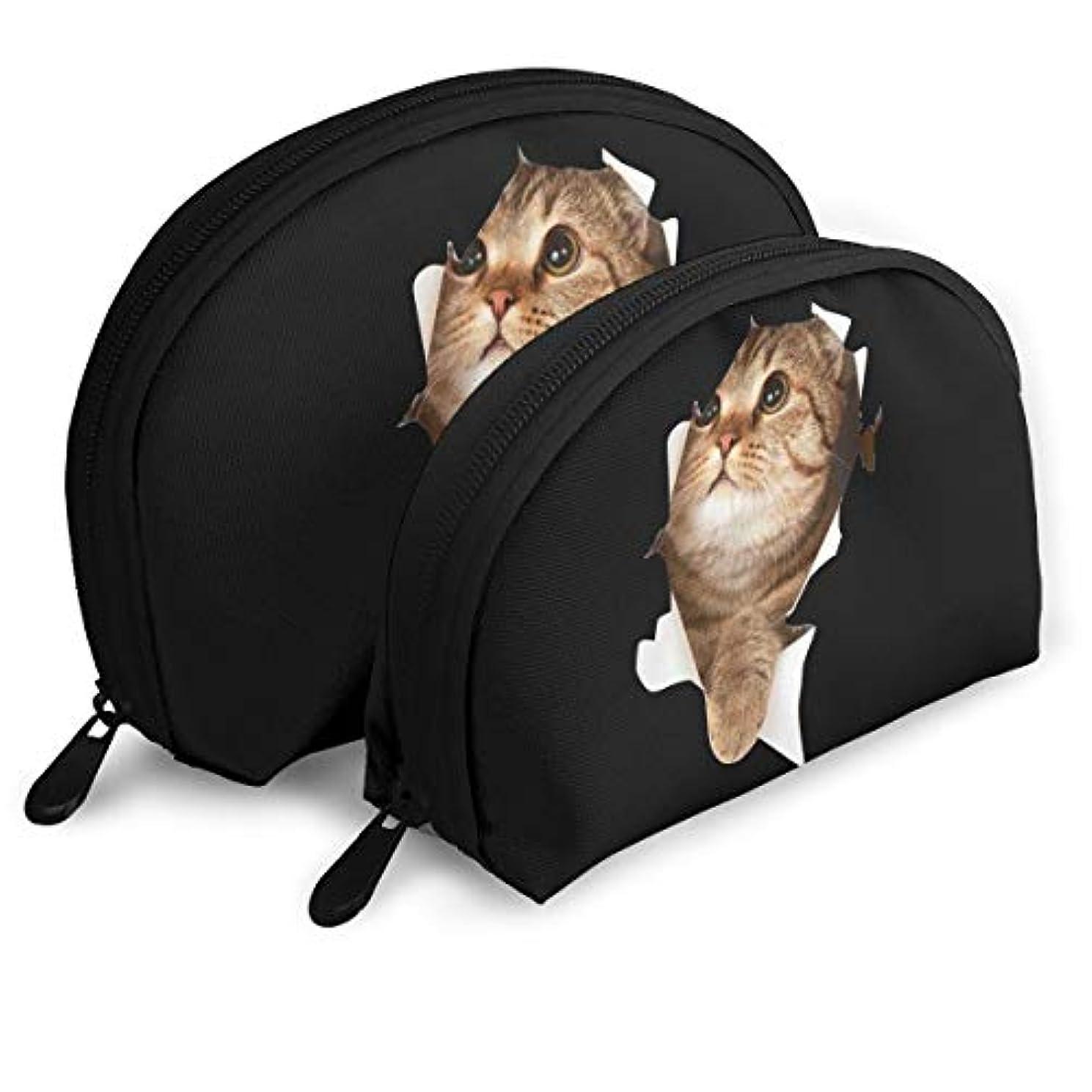 ホーン規定暴露スコティッシュフォールド 好奇の猫 かわいい メークバッグ 化粧ポーチ 化粧品収納 トイレタリーバッグ 旅行用ポーチ メイクポーチ 小物入れ 軽い 便利 ユニーク 2点セット レディース