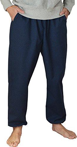 男性用久留米織もんぺ イージーパンツ Lサイズ 細縞紺