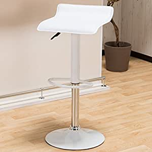 女性に人気 軽くて使いやすいカウンターチェア 「ビビッド」【ホワイト色(白色)】 座面レザー調 軽量バーチェア 重さ5kg 可愛い脚乗せ付き