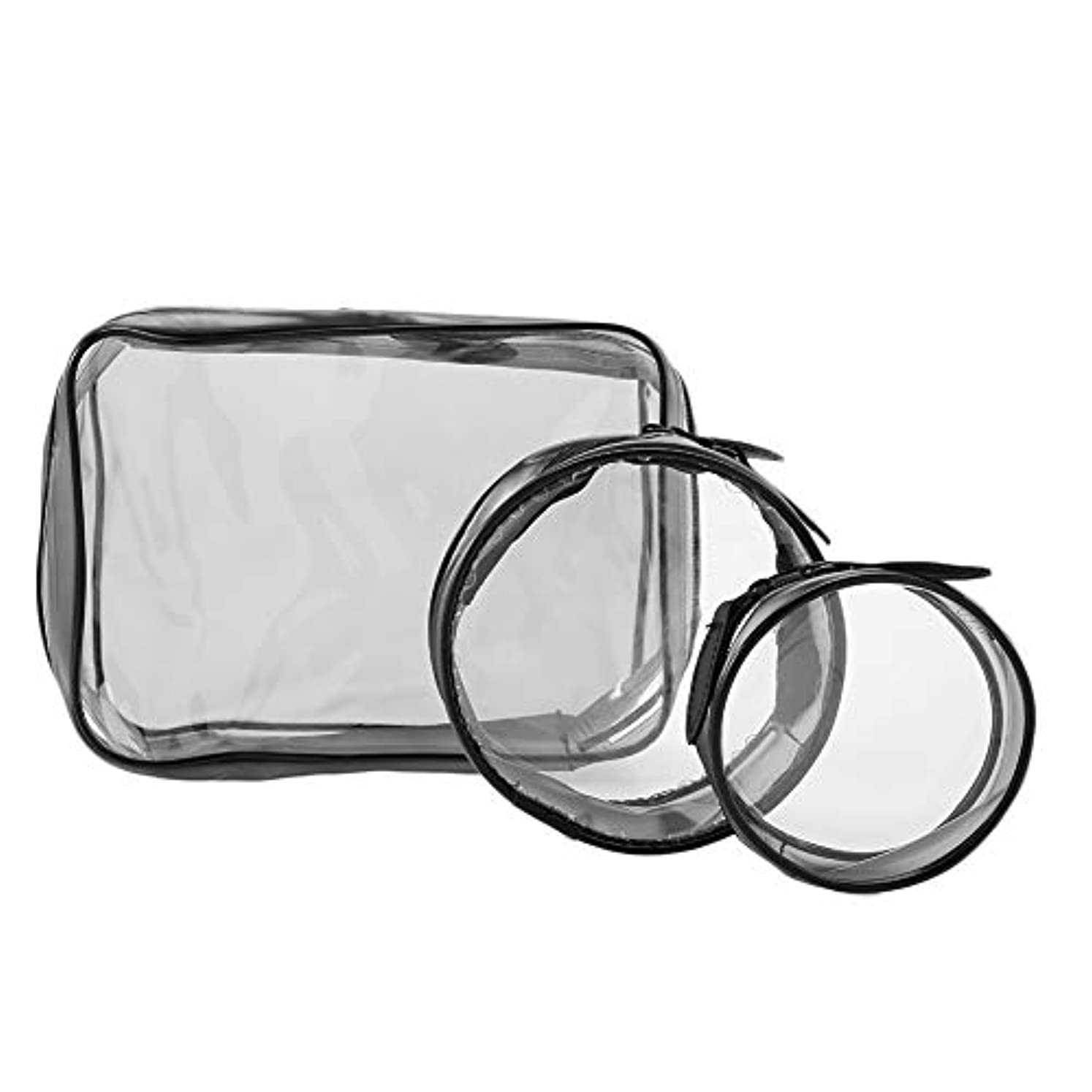 集中的な認証濃度化粧ポーチ、携帯旅行収納バッグ シンプル 透明メイクバッグ 大容量 防水 円形 ラスナーデザインツアーバッグ(スリーピーススーツ)