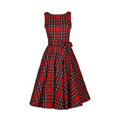 Gillberry Women's S Retro Vintage Sleeveless Big Bottom Swing Dress (M, Red)