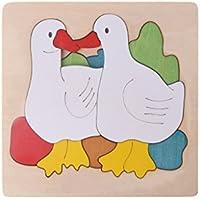 susada木製パズルChildren CartoonマルチレイヤJigsaw教育玩具ギフト( Duck Family )