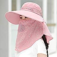 日よけ帽子 レディース フェイスカバー付き サンバイザー UVカット 紫外線対策 日焼け防止ハット つば広 軽量 自転車 農作業 アウトドア 女性用 帽子 夏 おしゃれ シンプル