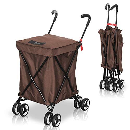 [アウトレット] FIELDOOR ショッピングカート 【ブラウン】 お買い物やBBQなどの荷物運搬...