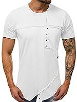 Keaac メンズトップマッスルパッチワーク半袖Tシャツ White XS