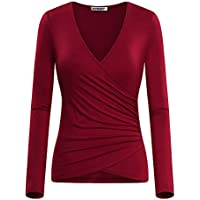 GUBERRY Women's Deep V Neck Long Sleeve Unique Cross Wrap Sexy Slim Fit Tops