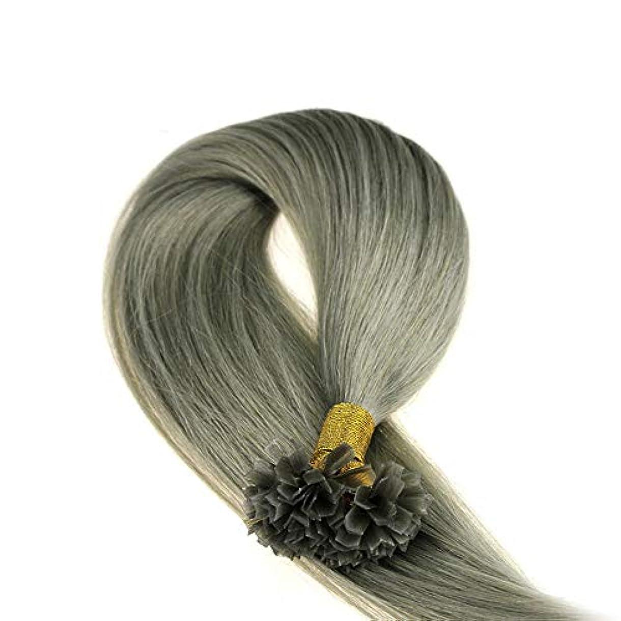 階段夏有望WASAIO ヘアエクステンションクリップUnseamed髪型交換ミックスグレー色のデュアル人間の髪を引かれます (色 : グレー, サイズ : 28 inch)