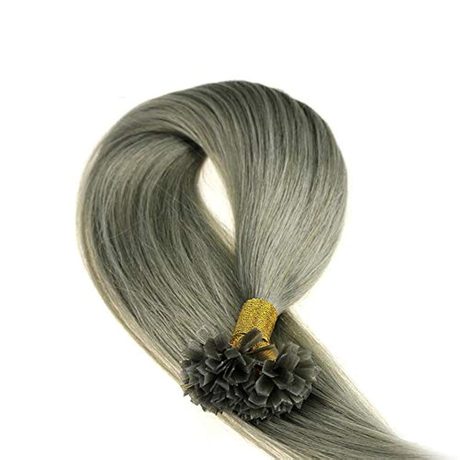 熟した傀儡アジアJULYTER ナノリングヘアエクステンショングレーミックスカラーデュアル描画人間Vヒントネイルヘアエクステンション (色 : グレー, サイズ : 24 inch)