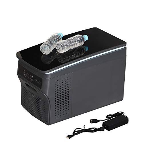 ブラック鏡面天板 車 車載用 冷凍庫 冷蔵庫 容量26リットル ポータブル 12V 24V 兼用 静音設計 -25℃~20℃ 3.3mのロングケーブル ACアダプター付