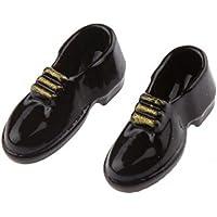 SONONIA 2足 1:12 人形の家 ドールハウス用靴 ミニチュア メンズ シューズ 飾り ギフト ブラック