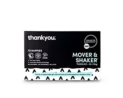 Thankyou Baby Nappies, Boys & Girls, Mover & Shaker,Toddler up to 10-15kg+ (72 Count)