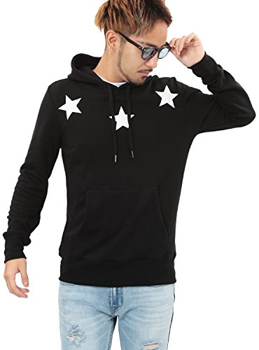 JIGGYS SHOP(ジギーズショップ) プルオーバー パーカー 裏毛プリント スウェット ロゴ 星柄 サーフ系 L aブラック