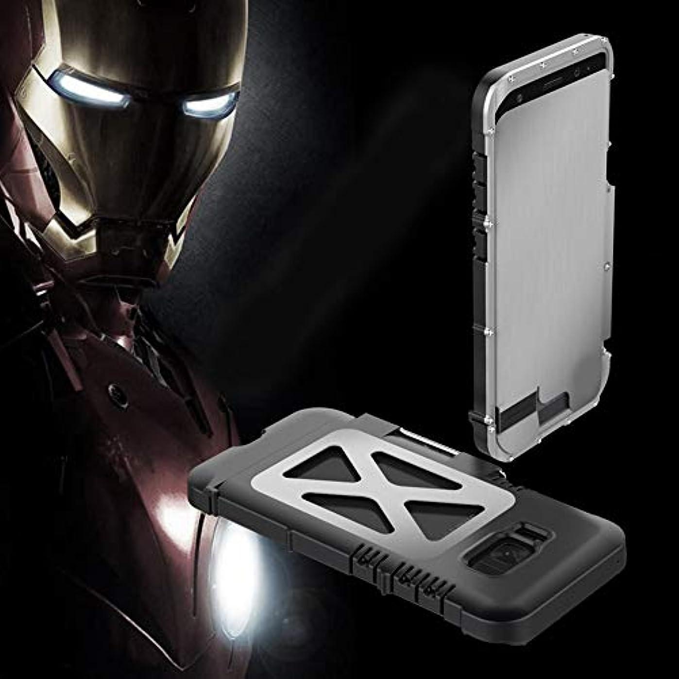 多様体差オリエントTonglilili 携帯電話ケース、サムスンS5、S6、S6エッジ、S6エッジプラス、S7、S7エッジ、S8、S8、S9、S9用ブラケット落下防止クリエイティブスリーインワンメタルフリップアイアンマン保護携帯電話シェルホーンケースプラス (Color : Silver, Edition : S8 Plus)