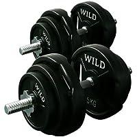 [WILD FIT ワイルドフィット] ダンベルセット 黒ラバー40kg