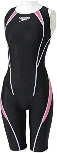 Speedo(スピード)レディース競泳水着フレックスシグマセミオープンバックニースキンSD44H05フラッシュピンク×ホワイトL