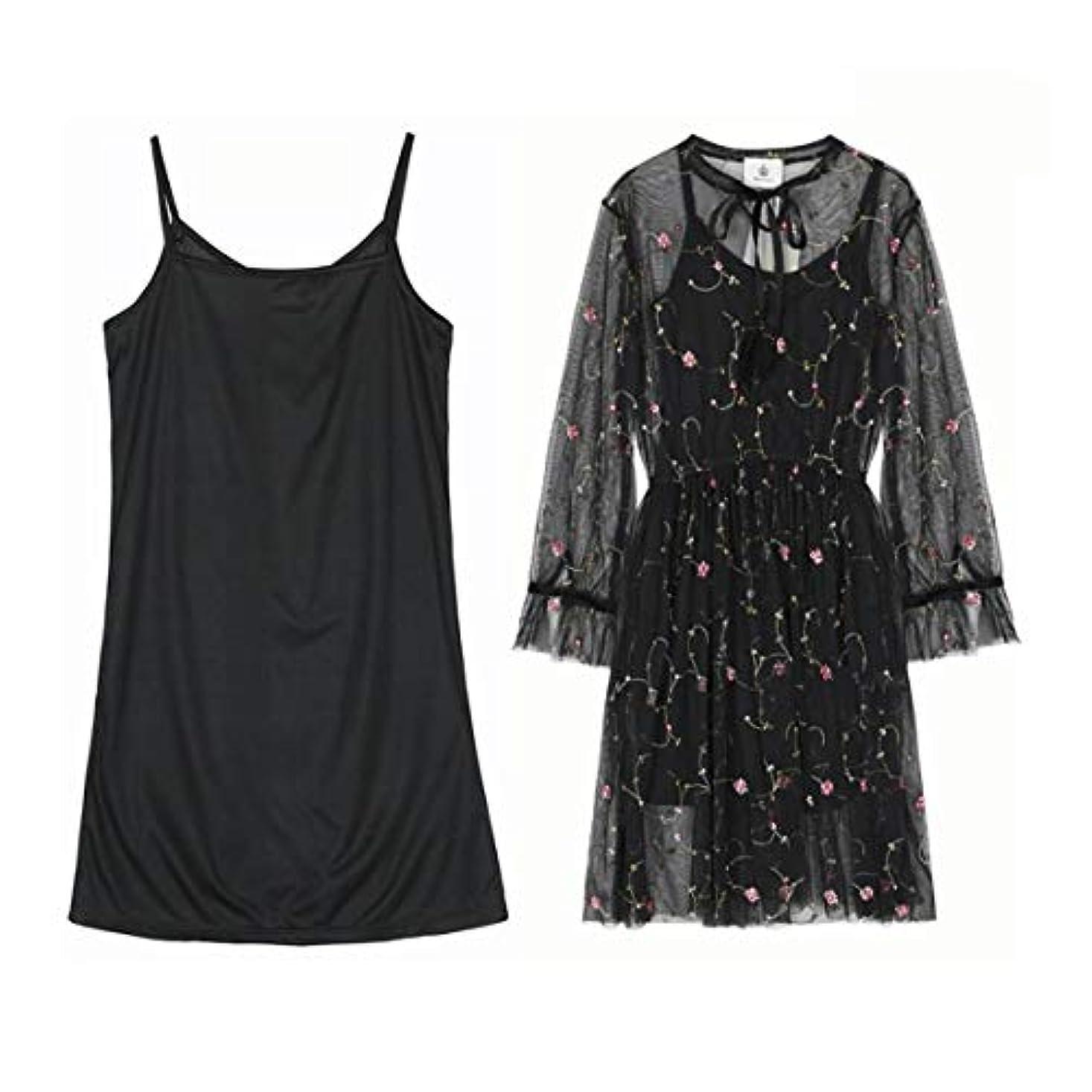 ブレーキ拘束限界Blackfell 女性ドレスツーピースドレス女性スリングスカート刺繍フラワーレースドレス