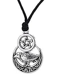 Raven Crescent Moon Wiccan Pentacleペンダントメンズジュエリーネックレス