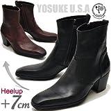 YOSUKE U.S.A(ヨースケ) ヨースケ メンズ ブーツ チゼルトゥ ヒールアップブーツ ドレスブーツ 本革ブーツ ショートブーツ (27.0cm, ブラック(予約))