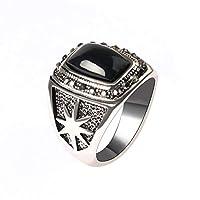 のリング,結婚指輪大きなリング 古代の銀のメンズ宝石用原石のビンテージリングダイヤモンドの幾何学的なリング 男性女性 (サイズ さいず : 9)