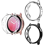 ZAROTO Case for Samsung Galaxy Watch Active 2 44mm Screen Protector, 3 Pack Full-Around TPU Anti-Scratch Flexible Smartwatch Case Soft Cover for Galaxy Watch Active 2 44mm (Black+Silver+Clear)
