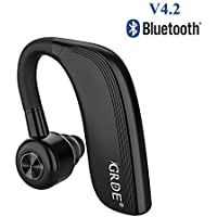 4.2Bluetoothイヤホン Bluetooth ヘッドセット ワイヤレスイヤホン 片耳 25時間連続使用可 左右耳兼用 IPX4防水 Siri機能搭載 180°回転 マイク付き 抜群の装着感 ビジネス/通勤/通学/車用 ノイズリダクション 左右耳兼用 IPhone&Androidなどに対応 日本語説明書付