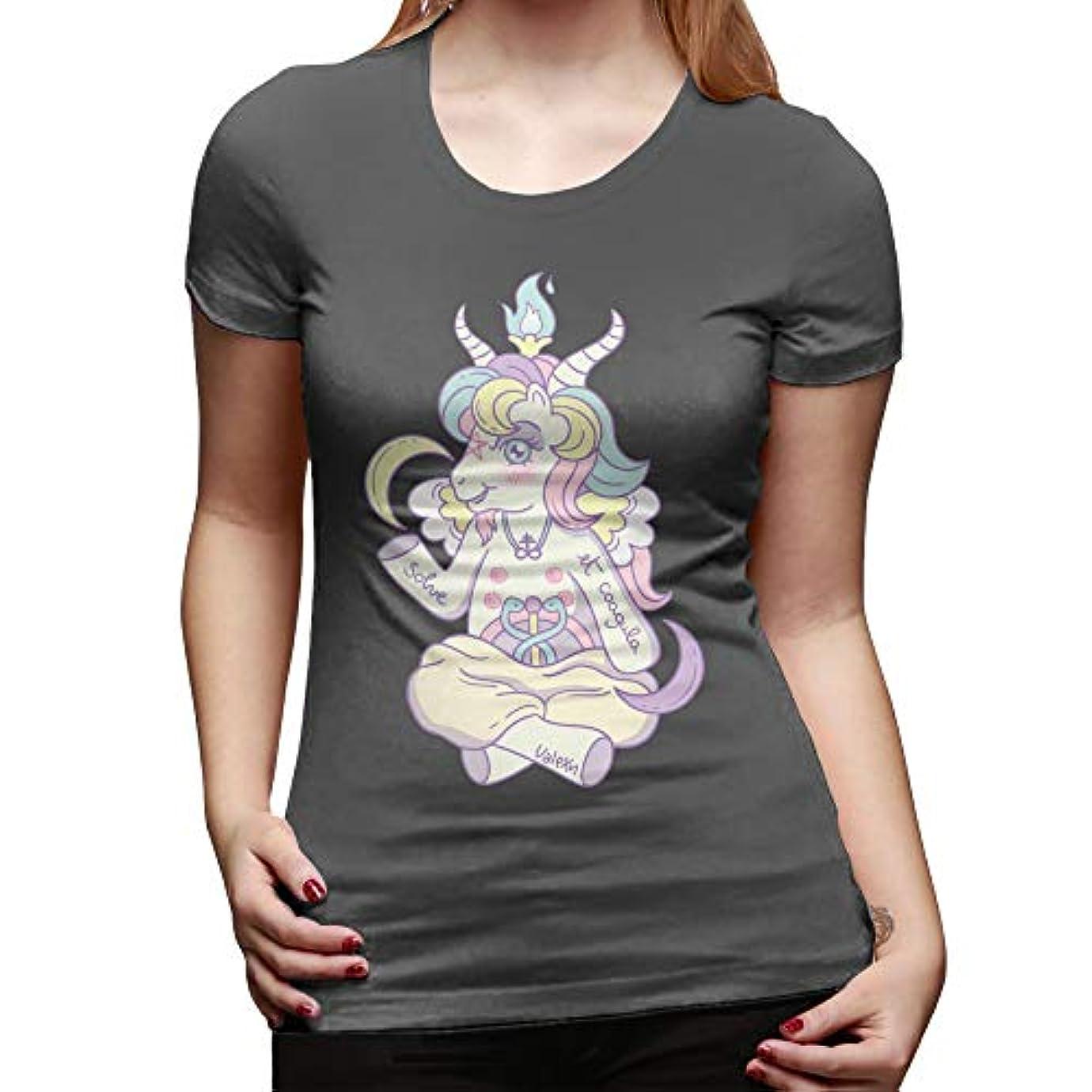 石炭季節科学者小悪魔 Tシャツバフォメット Tシャツ半袖綿 100 の女性の tシャツ O ネックプリント紫色のシンプルな夏の女性 tシャツ