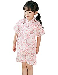 aab0ac7454ee4 SunnyBaby(サンニベビー) 夏 甚平 子供服 ベビー 女の子 ガールズ キッズ 浴衣 上下セット 和服 着物 桜柄 総柄 薄手 お祭り  パジャマ じんべい 綿100% 兎 桜…