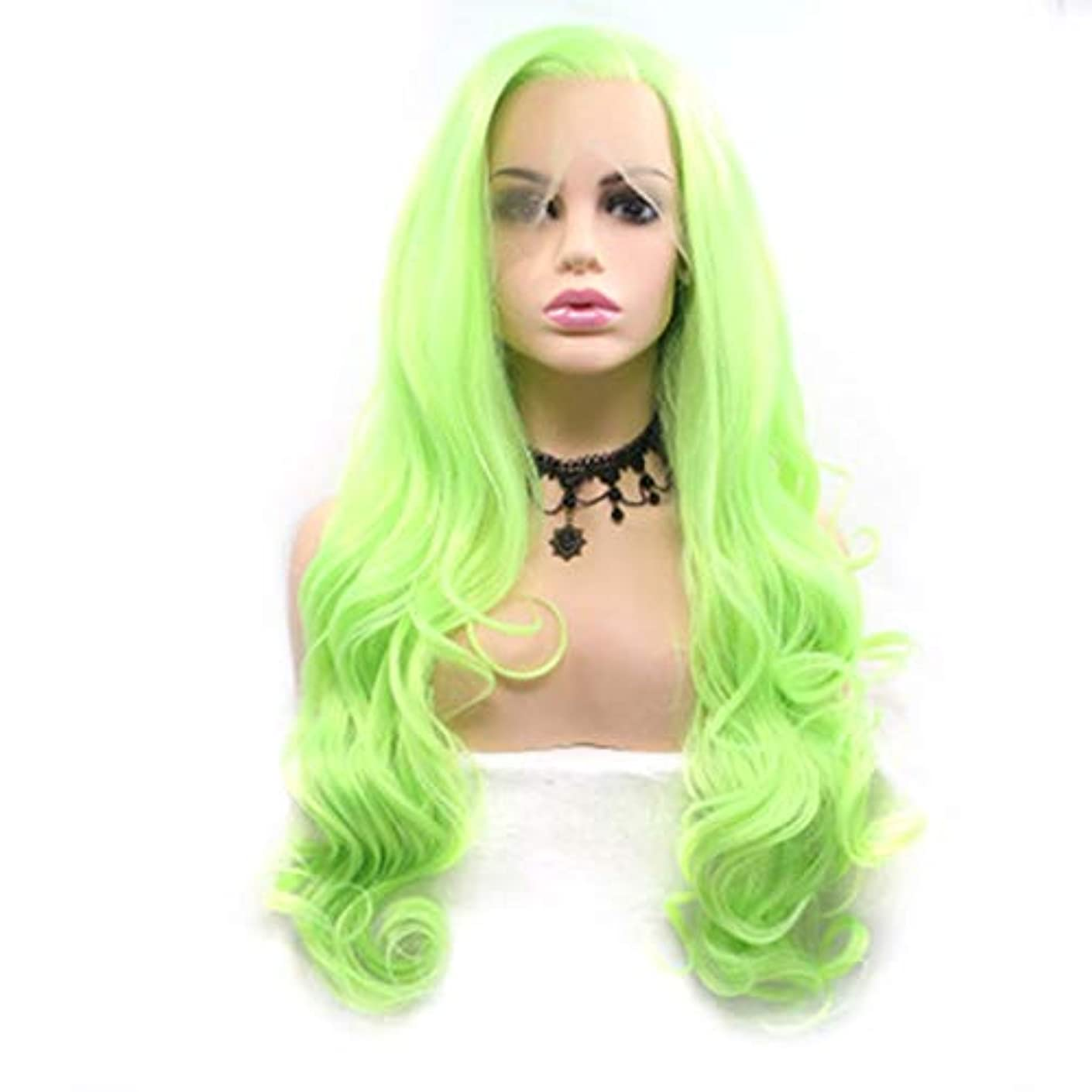 腐敗した悪い限界ヘアピース 女性のヨーロッパおよびアメリカ向けの蛍光グリーンウィッグロングカーリーヘアパーティーデイリーCOS化学繊維ウィッグヘッドギア