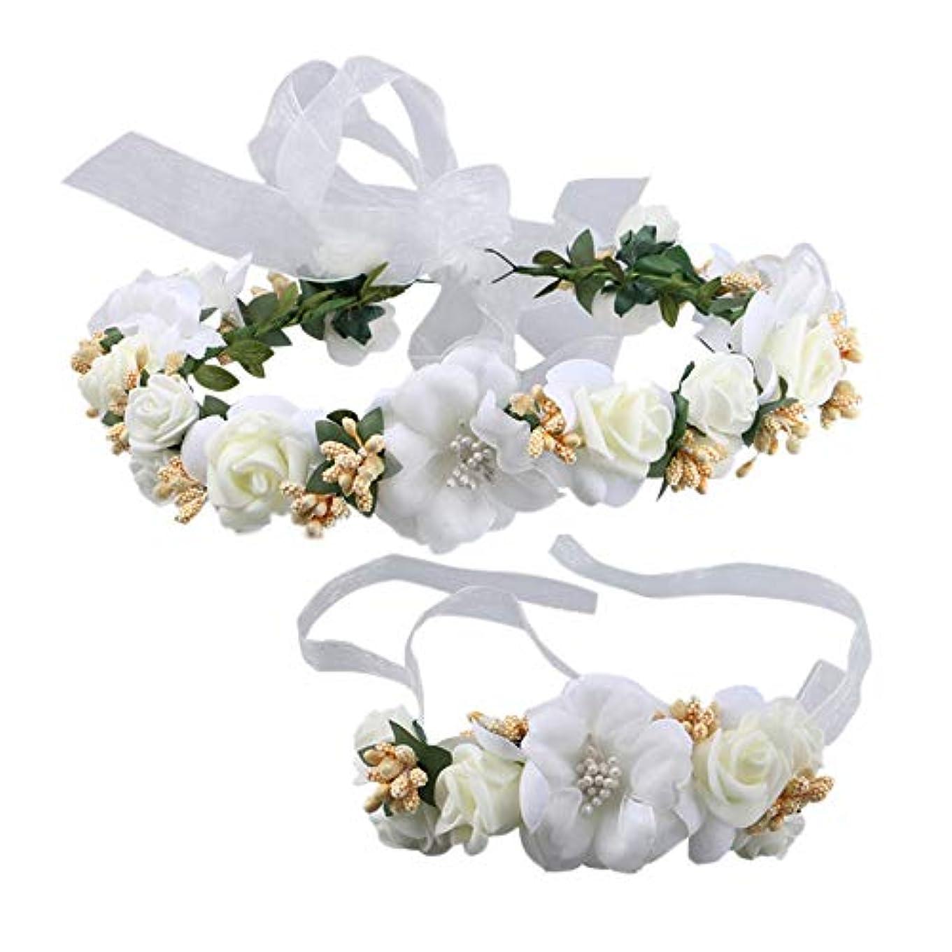 ベスト野生アンソロジーMerssavo ブライダルリース+手首の花韓国の海辺の花嫁介添人ティアラヘアフープウェディングアクセサリー