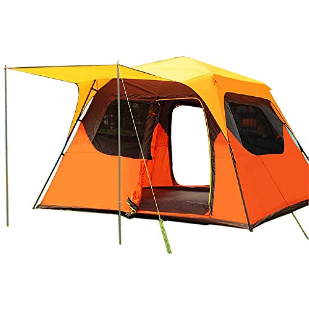 ミルク映画アンペアクイックシェード シェード テント 大型キャンプテントシェード、簡単屋外用ガーデン防水アンチUVサンシェルター、2ドア、ホールド5-8人、オレンジ