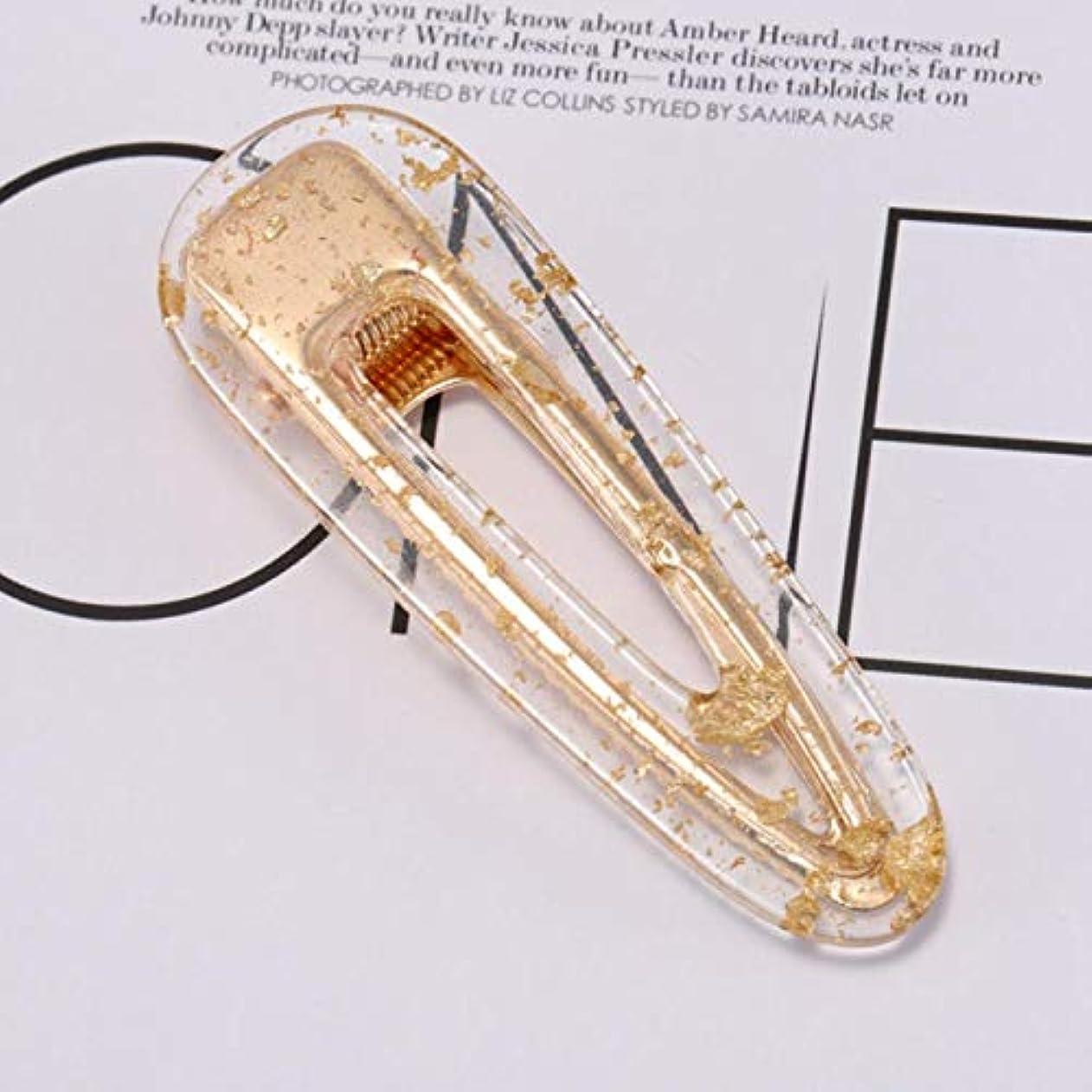 懲戒暗黙拳サリーの店 多くの種類ファッション女性ヘアスライドクリップスナップバレッタヒョウ印刷ヘアピンピンヘアアクセサリー(None Clear golden dot Elliptic hairpin)