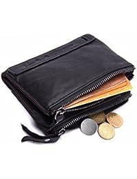 Eldori 二つ折り 財布 本革 ラウンド ファスナー 免許証入れ カード7枚収納 小銭入れ メンズ コンパクト 柔らかい 革財布 本革 メンズ財布