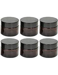 アロマ保存容器 遮光容器 クリーム容器 10g 遮光 アロマ 保存 容器 遮光瓶 ガラス製 内フタ付き 詰め替え 便利 コンパクト 軽量 6個セット ブラウン