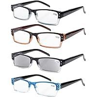 Eyekepper 4-pack Spring Hinges Rectangular Reading Glasses Includes Sunshine Readers +2.00