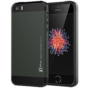 iPhone SE ケース, JEDirect 二層スリム保護 衝撃吸収 iPhone SE 5s 5用 耐衝撃カバー (ブラック) - 3360