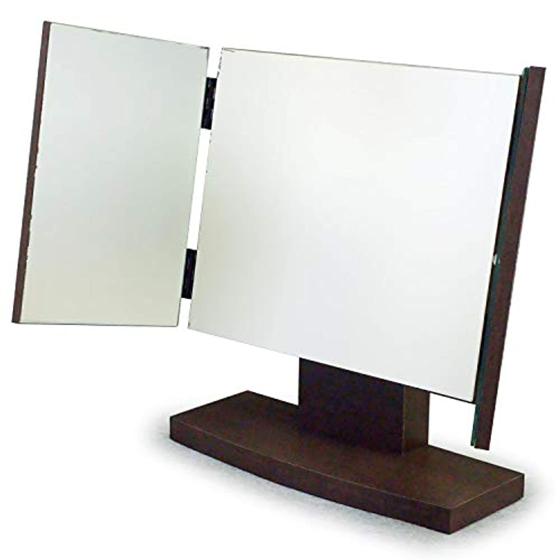 会話アークキモい三面鏡 卓上 木製(角度調整機能付)ダーク色