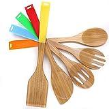 キッチンツールセット 5件セット 調理器具 フライ返し 竹製 木製 調理スプーン フォーク スロットスプーン シリコン製ハンドル きいろ レッド グリーン ブルー オレンジ