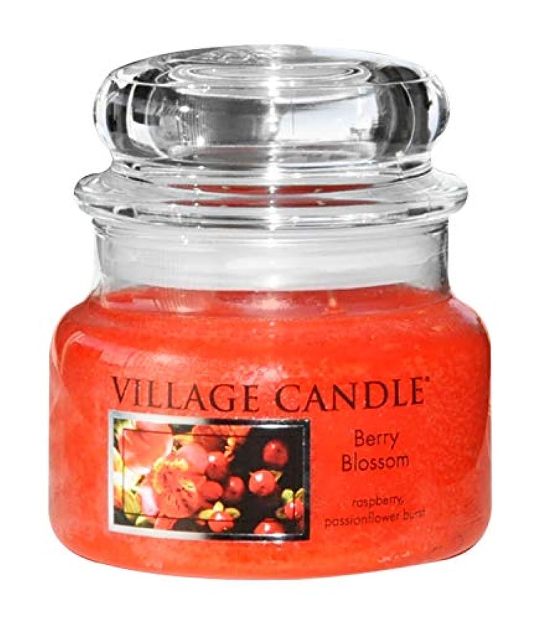 繁雑自動忘れっぽいVillage CandleベリーBlossom 11オンスガラスJar Scented Candle、スモール Small (11 oz) レッド 106011846