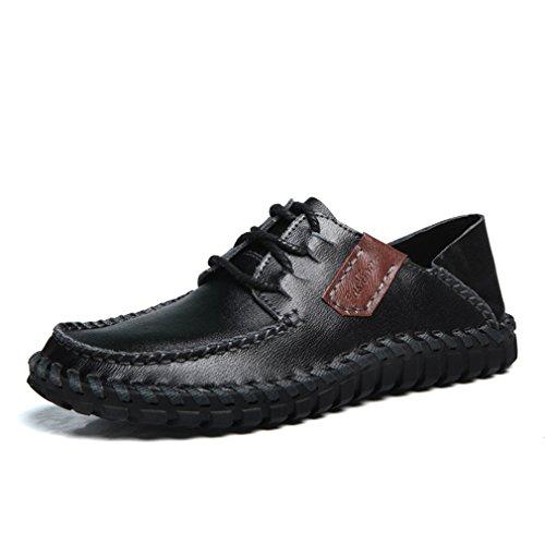 [QIFENGDIANZI] メンズ カジュアルシューズ デッキシューズ 靴 ドライビングシューズ スニーカー 紳士靴 ローカット アウトドア オシャレ スリッポン コンフォート ブラック 26.5cm