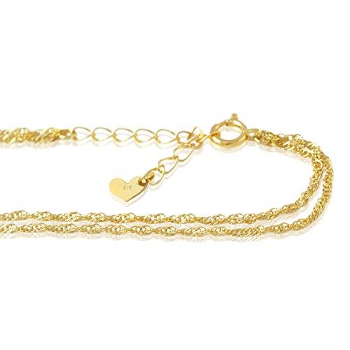 """[해외]K18 골드 2 연속 팔찌 한 나사 1.2mm 폭 """"서로 겹쳐 2 연속 체인이 반짝""""/K18 gold 2 consecutive bracelet screws 1.2 mm width """"Two overlapping chains shiny sparkle"""""""