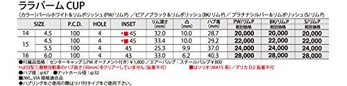 HOT STUFF(ホットスタッフ)Lala palm cup(ララパームカップ) アルミホイール4本セット 14インチ4.5J INSET45 PCD100 HOLE4 カラー:ピアノブラック&リムポリッシュ