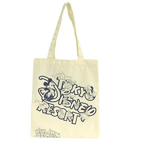 ディズニー トートバッグ 白 ホワイト A4 布 買い物 通学 バッグ 鞄 バック ミッキー ミニー 他 ( ディズニーリゾート限定 グッズ )